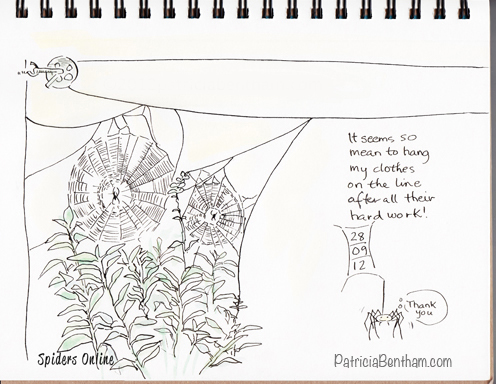 Spiders Online...Drawing by Patricia Bentham