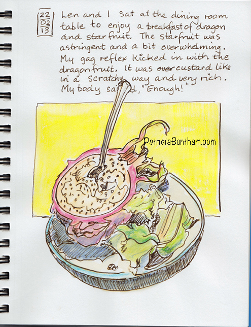 Eating the dragon fruit, drawing by Patricia Bentham