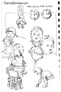 Waiting at the clinic provides time to draw.