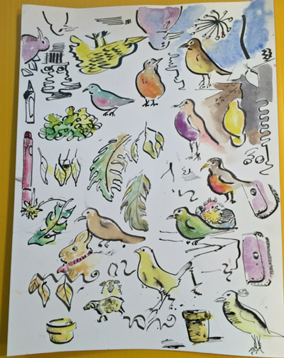 random birds with brush pens