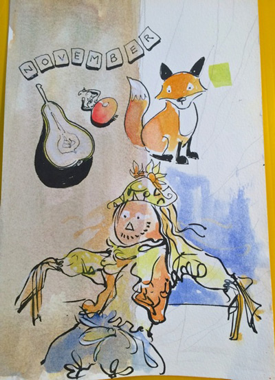 happy scarecrow and fox